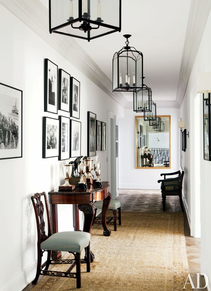 English antiques and polo trophies are displayed at Ben Soleimani's Beverly Hills home.: Beverly Hills, Lights Fixtures, Black And White, Interiors, Hallways Lights, Hanging Lanterns, Sun Rooms, Design, English Antiques