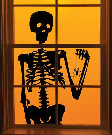 skeleton window cling set of two - Window Clings Halloween