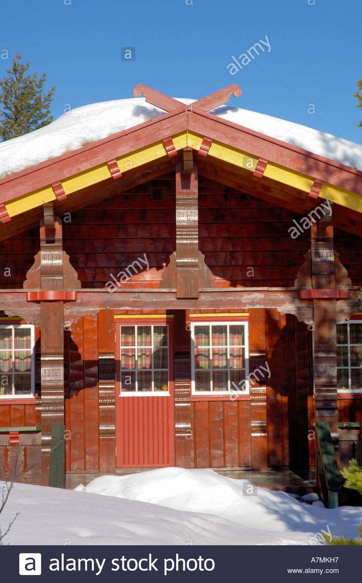 Swedish Log Cabins in Norway Stock Photo