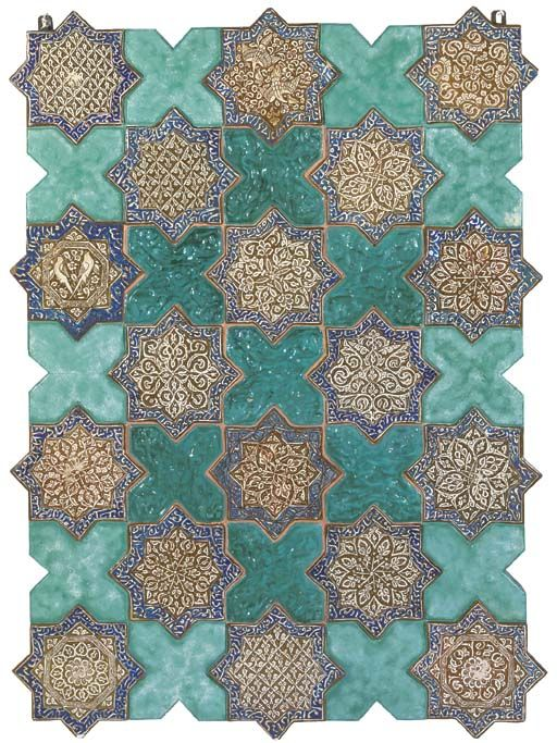 PROBABLY PARTLY FROM THE SHRINE OF 'ABD AL-SAMAD, NATANZ, EARLY 14TH CENTURY Each eight-pointed star painted in brown lustre with a variety of floral and arabesque designs, two with birds, within an inscription border, the white naskh outlined on a blue ground, the birds' heads and occasional corners restored, mounted together, the interstices painted turquoise to resemble cross-tiles, central interstices filled with moulded turquoise glazed tiles in contemporaneous style but probably recent