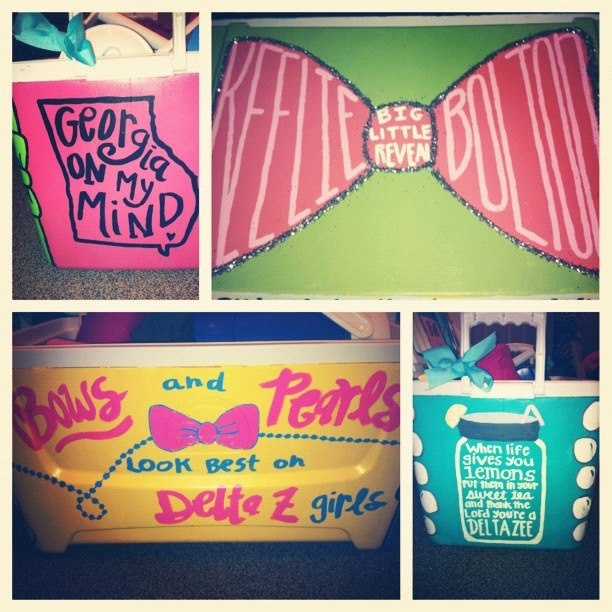 Bows & pearls look best on Delta Z girls  This is Keelie's cooler, that Ashby made her for big/little reveal. Delta Delta still reppin'