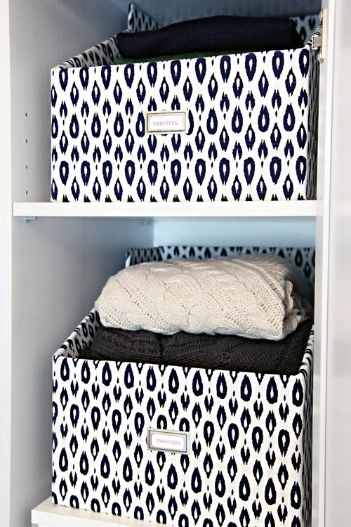 IHeart Organizing: DIY Sweater Boxes. Great tutorial on how to make this fabric-covered container!