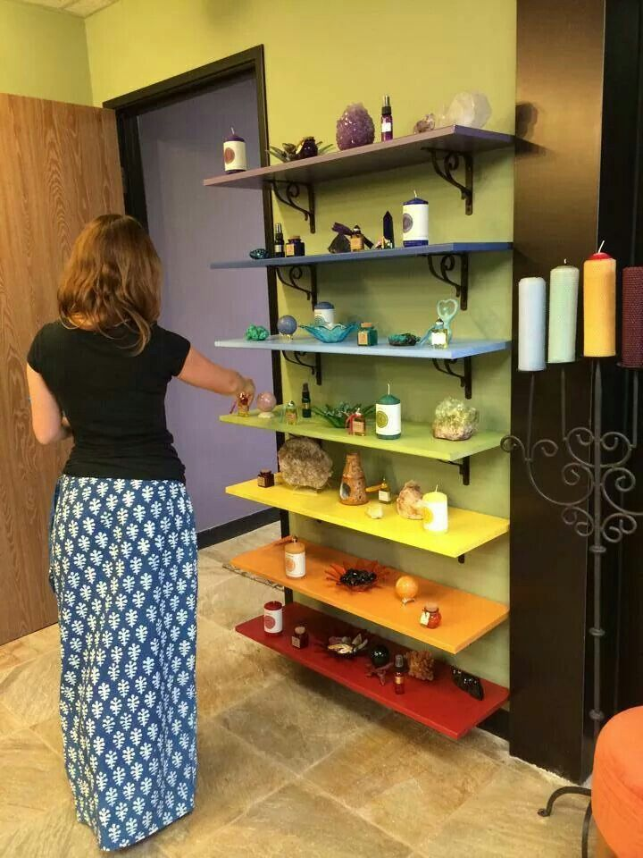 Chakra shelves. Love the idea, though I'd use much smaller shelves I think.