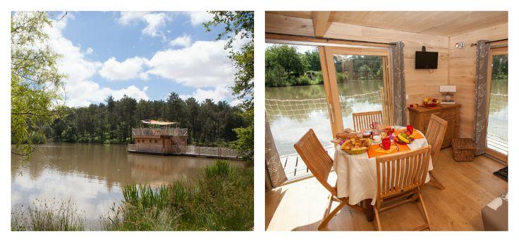 Cabane sur l'eau - chalet flottant - Jolie cabane bois eau dordogne bergerac location insolite etang peche vacances