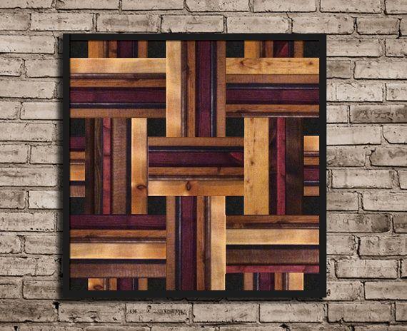 Modern Square Weave Pattern Wood Wall Art by JaclynMillerDesigns, $465.00