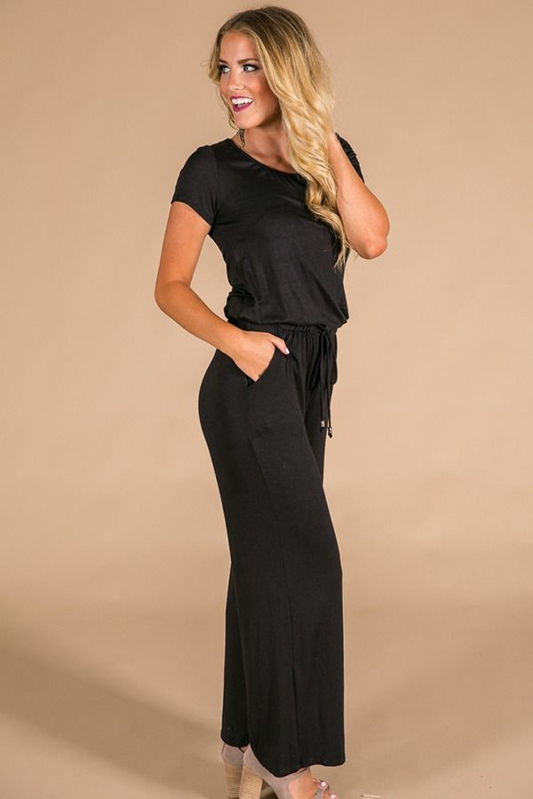 Good Vibes Only Jumpsuit In Black $42.00