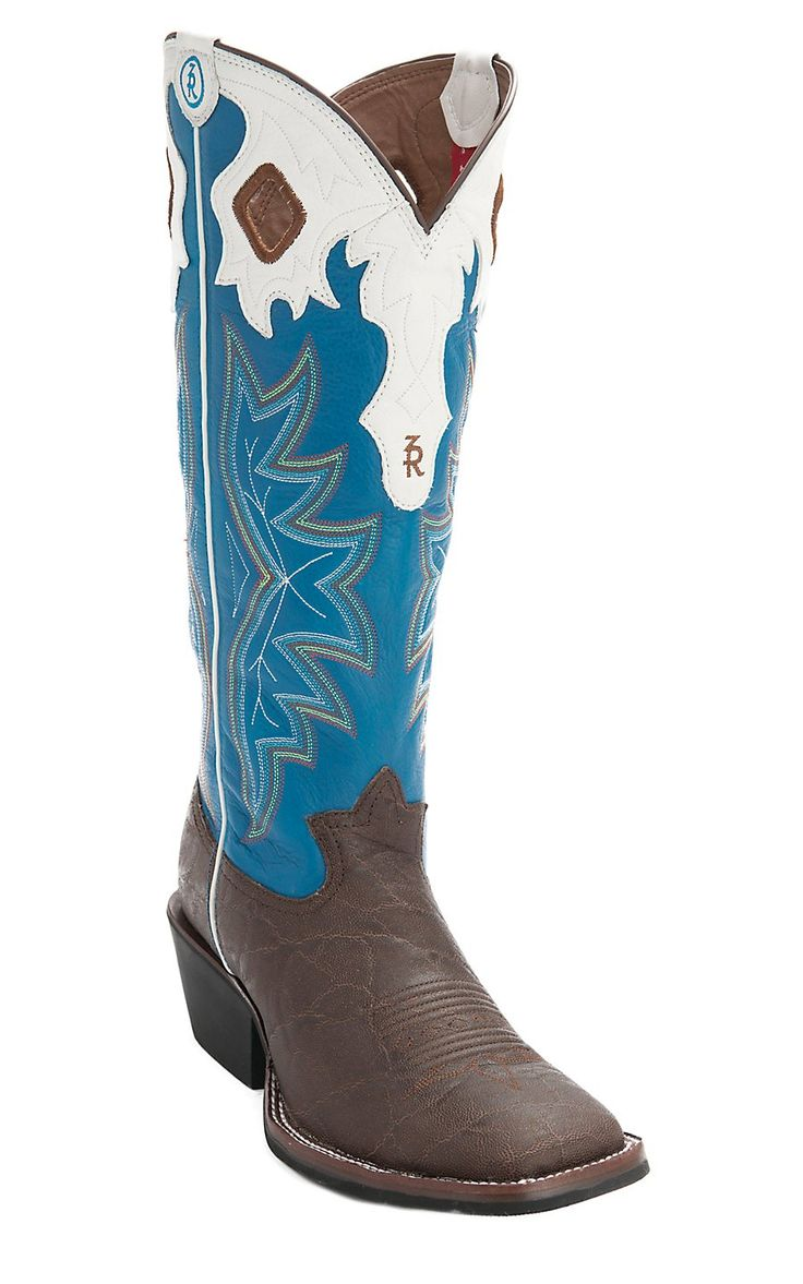 Tony Lama® 3R™ Men's Walnut Elephant Print w/Royal Blue Tall Top Double Welt Square Toe Buckaroo Western Boots | Cavender's