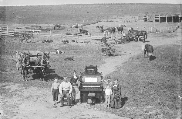 David Hilton family - wanted to show their relatives they owned an organ without showing their home - Nebraska 1887