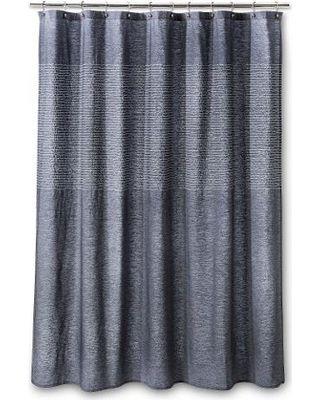 Threshold Stitched Stripe Shower Curtain - Blue