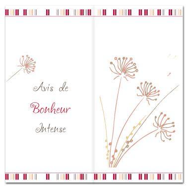 """Faire-part de mariage. Thème """"fleur de carotte"""" et """"Avis de bonheur intense"""". Format carré avec 2 plis."""