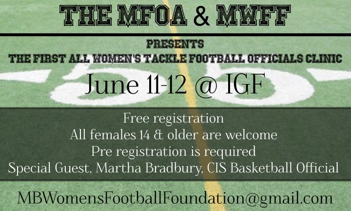 Free level one tackle football officials clinic for the Women of Manitoba