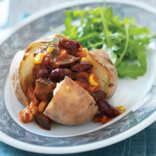 Baked potatoes with bean salsa   Australian Healthy Food Guide