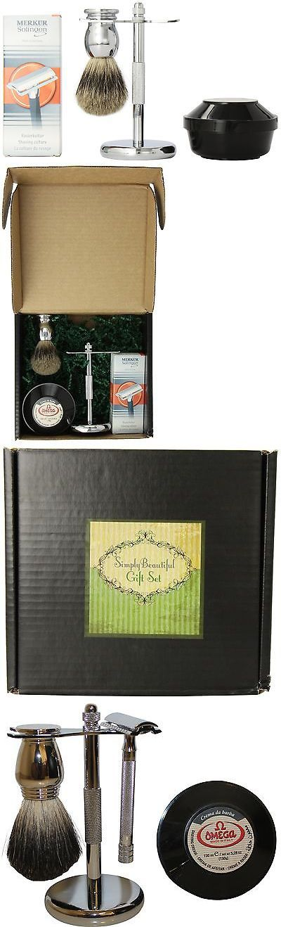 Shaving and Grooming Kits and Sets: Simply Beautiful Shaving Gift Set With Merkur Razor Stand Brush And Omega Soap BUY IT NOW ONLY: $116.0