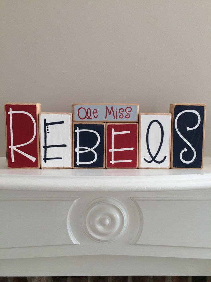 Ole Miss Rebels Decorative Blocks by RuchalskiRustic on Etsy
