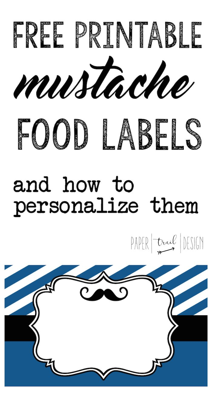 Mustache Food Labels Free Printable: Print these food tag buffet cards to use at your baby shower or birthday party. You can also use them as place cards!