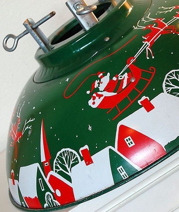 Vintage Domed Christmas Tree Stand Santa/ Reindeer Litho Atomic Mid Century Modern