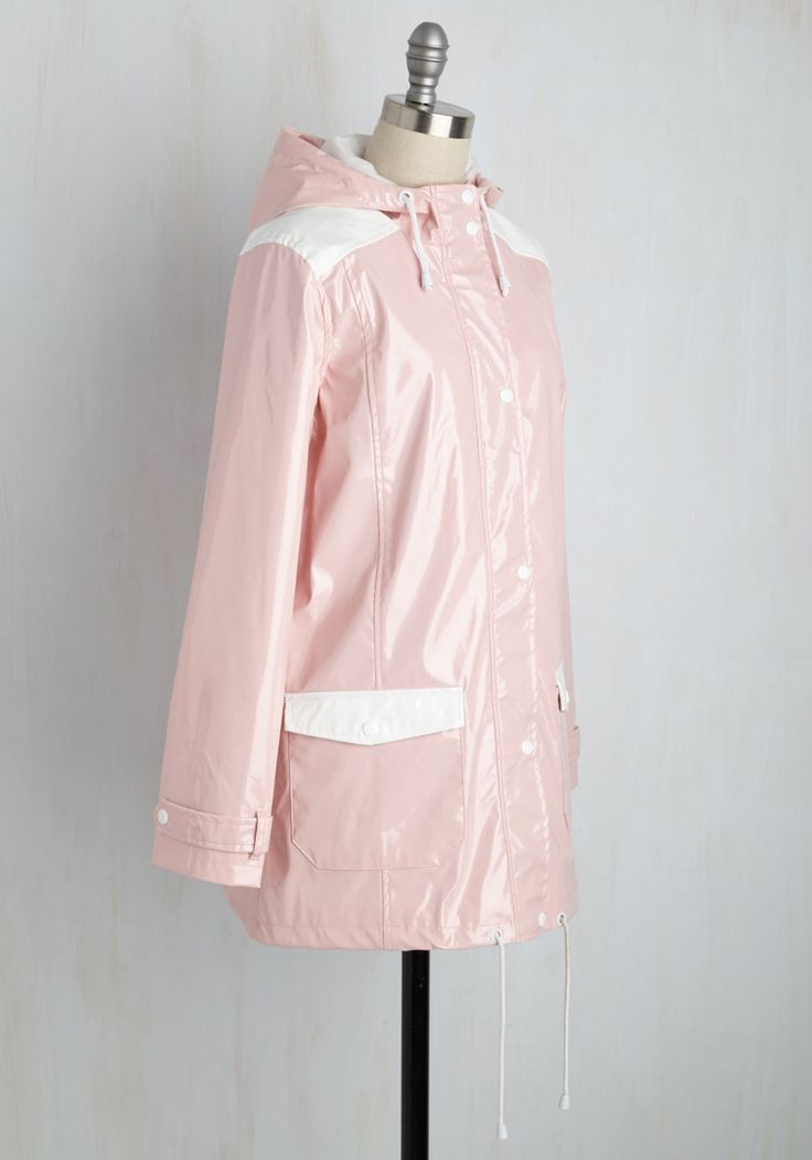 The Rains of the Operation Jacket in Carnation. Youve masterminded a plan for the perfect day, and with this glossy pink raincoat, you wont let a little drizzle get in the way! #pink #modcloth