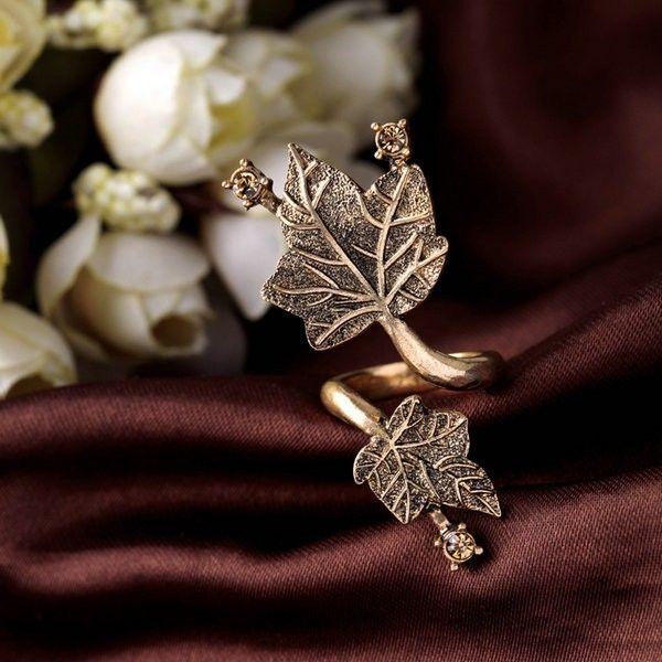 Bronze Leaf Knuckle Ring
