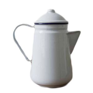 Falcon Enamel Coffee Pot White 13cm. Sturdy enamel tableware range, for all occasions. Vitreous double coated enamel. Free Delivery on orders over £50.00.