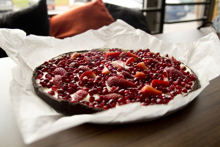 Almond tart with strawberries and pomegranate