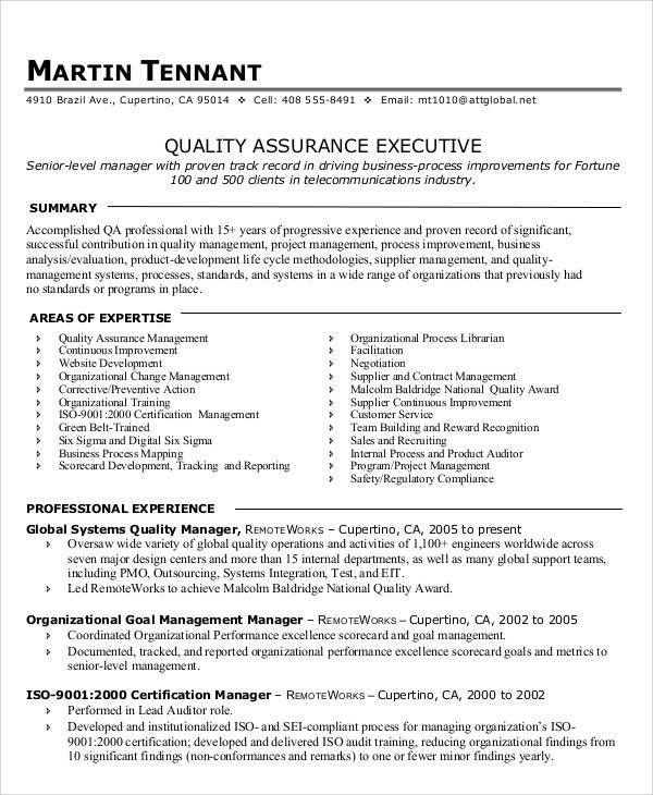 14 awesome quality assurance resume sle templates Sports Pinterest