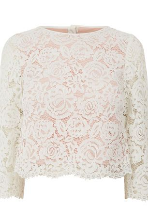 Oasis, LACE BUTTON BACK TOP Off White