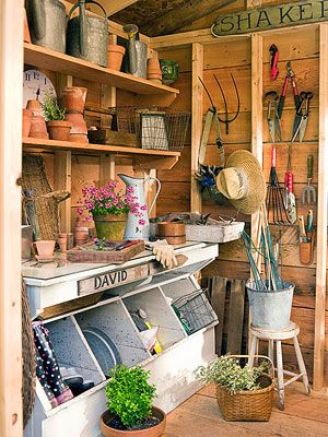 I have shelves on my balcony, would like boxes under to store potting soil and also hang tools like in the picture.