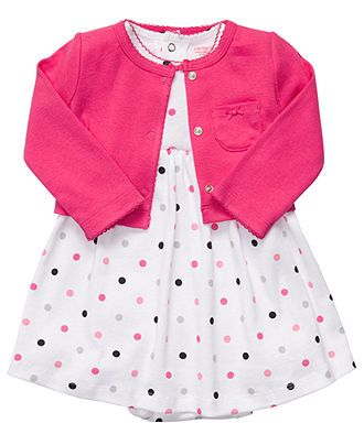 Carter's Baby Set, Baby Girls Polka-Dot Dress and Sweater - Kids Newborn Shop - Macy's