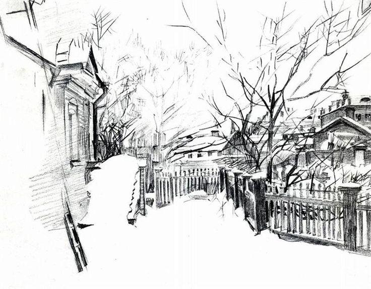 Yard+at+winter,+1904+-+Mikhail+Vrubel