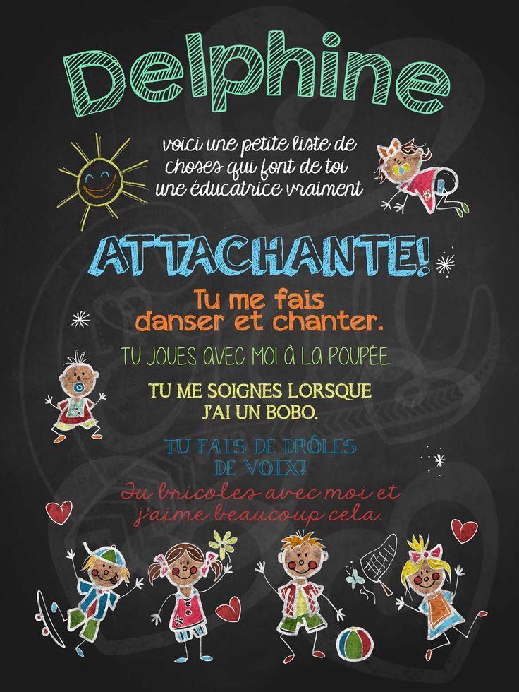 Affiche personnalisée Éducatrice attachante! | 15,00$ #lacraieco #chalkboard #cadeau #gardienne #garderie #cpe
