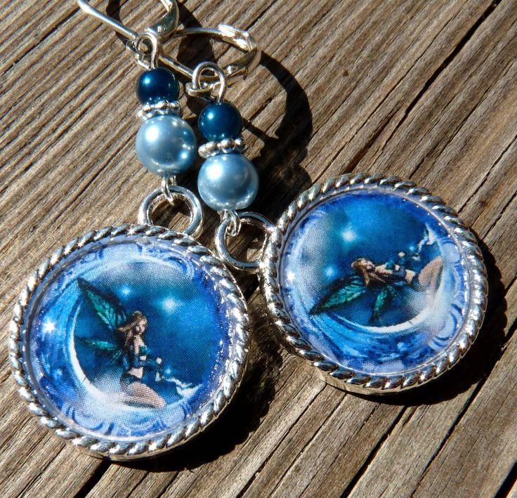 Fairy Tile Earrings Fantasy Earrings Tile by bluerosebeadery, $10.00