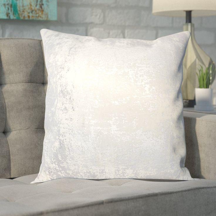 Biscoe Distressed Metallic Throw Pillow