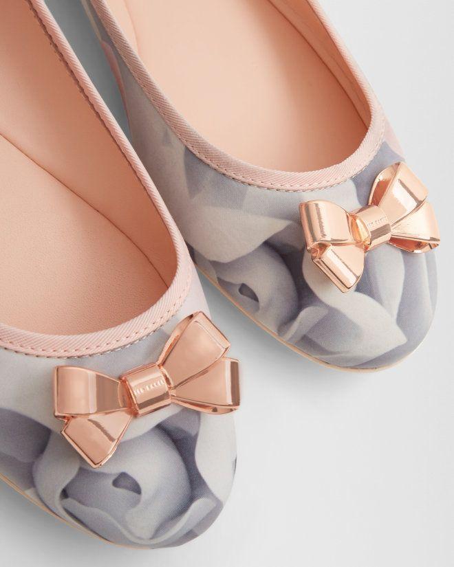 Bow detail ballerina pumps - Nude Pink | Footwear | Ted Baker UK