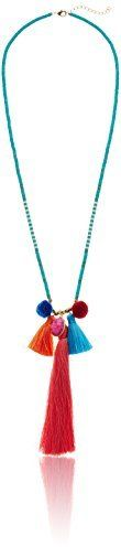 "Panacea Pom Pom and Silk Tassel Pendant Necklace, 31.5"" + 2"" Extender"