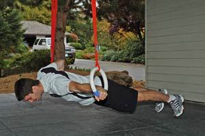 Gymnastic rings, good for push ups, flys, and reverse pushups.