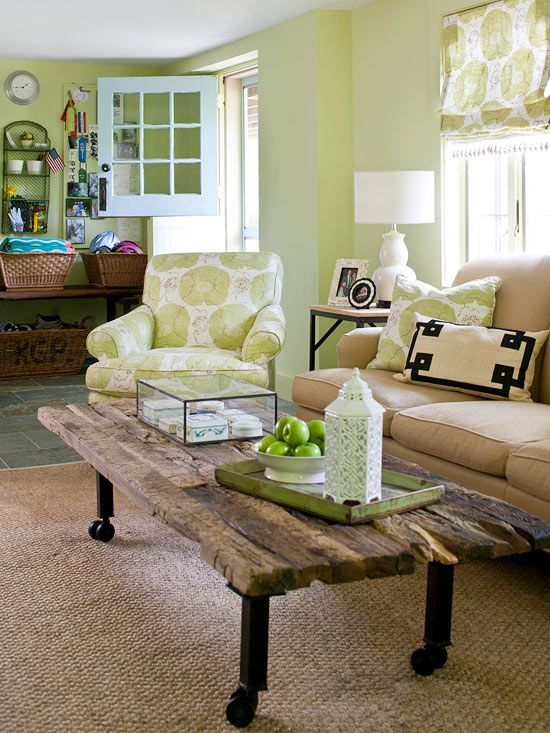 Living Room Color Scheme: Friendly Countryside. Love that chair and the fabric continued throughout.Country Room, Coffee Tables, Living Rooms, Living Room Colors, Country Living Room, Green Wall, Livingroom, Dutch Doors, Room Colors Schemes