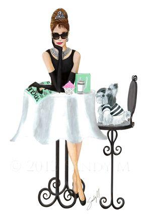 Custom illustration for Breakfast at Tiffany's Bakery by artist/illustrator SANDY M.  #art #illustration #fashionillustration #customillustration #audreyhepburn #breakfastattiffanys #SANDYM #oohlafroufrou