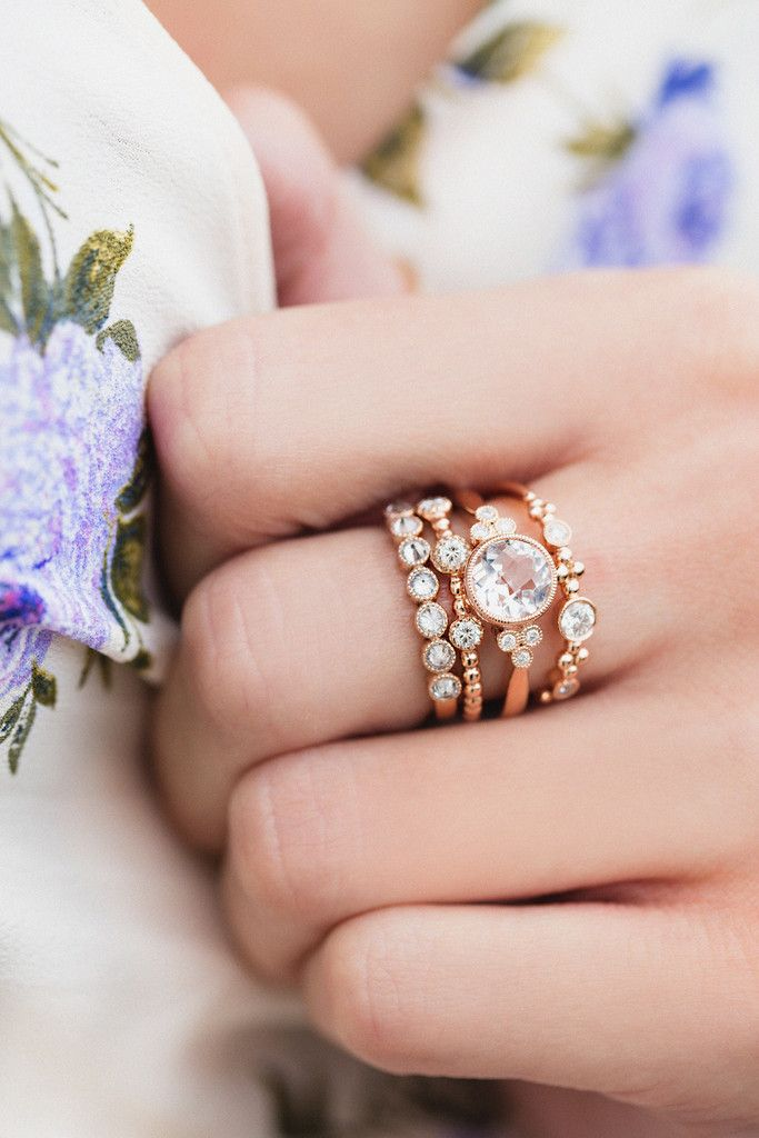 14kt gold and diamond morganite bezel cluster ring – Luna Skye by Samantha Conn