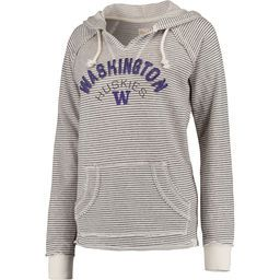 Women's Blue 84 Cream Washington Huskies Striped French Terry V-Neck Hoodie  Buy now at shop.gohuskies.com
