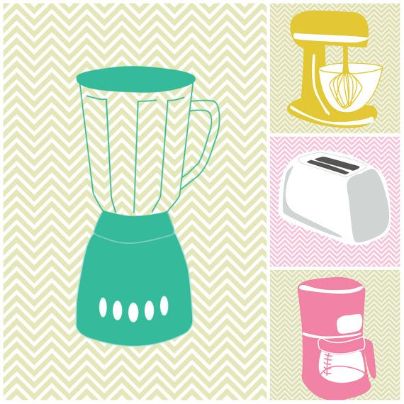 Set of 4 - Kitchen Prints Blender Toaster Coffee Maker Chevron Wall Hanging Print 13x19 Poster 8x10 11x17 Pop Art Modern Remodel p76,77,78