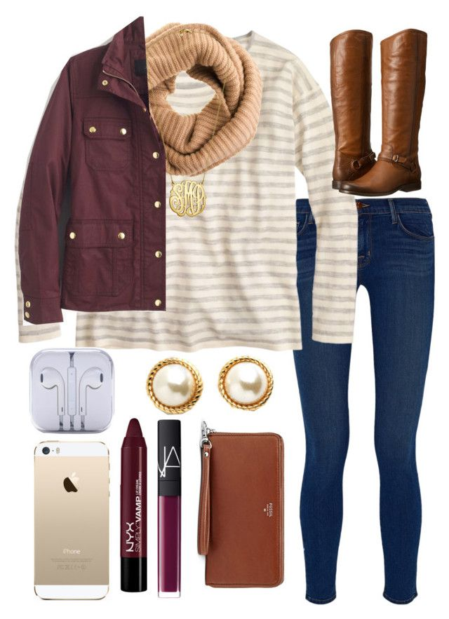 """""""field jacket"""" by lindsay-mccartney ❤ liked on Polyvore featuring J Brand, J.Crew, Frye, FingerPrint Jewellry, NARS Cosmetics, Kate Spade and FOSSIL"""