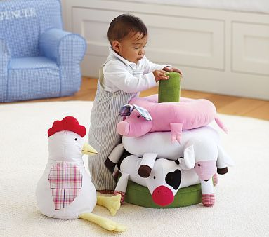 The mere sight of these animal friends gives me warm fuzzies | Jumbo Fun On The Farm Stacker potterybarnkids.com
