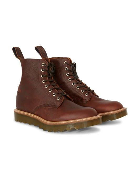 Dr Martens Made In England Pascal Ripple 8 Eye Boot Dark Tan