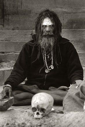 Aghori Sadhu,Portrait,India,silver gelatin print