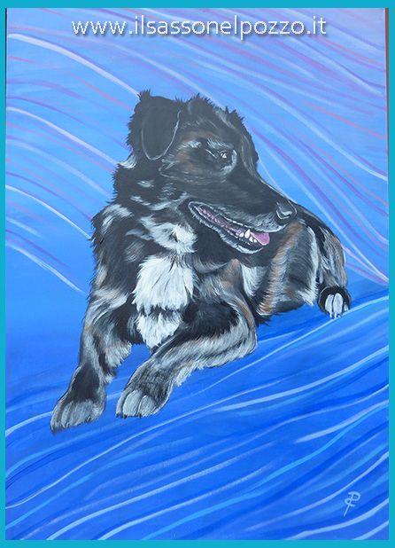 Ritratto di cane su pannello telato 50x70. Dipinti di animali di Paola Capponi