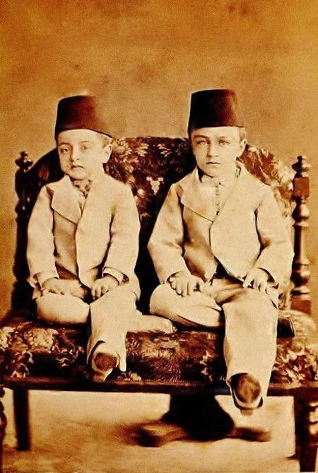 The princes Abdülmecit and Şevket, sons of the Ottoman sultan Abdülaziz I.  The photograph dates from 1874.  Prince Abdülmecit  would become the last Caliph of the Ottoman house.