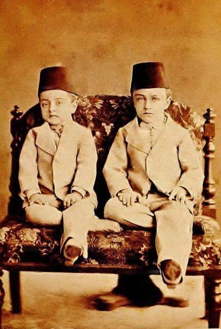 The princes Abdülmecit and Şevket, sons of the Ottoman sultan Abdülaziz I. The…