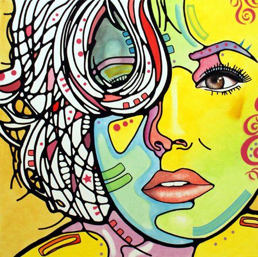 STRAWBERRY BLONDE by deanrussoart.deviantart.com on @deviantART Great abstract Self Portrait idea