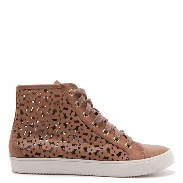 Laser-cut high top trainers in brown colour with brown laces and white sole.