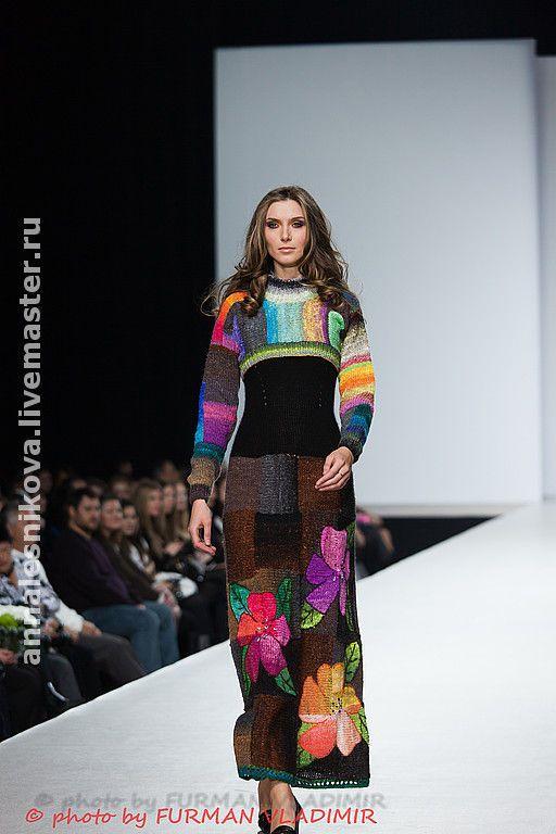 """Купить Платье """"Цветы 2"""" - вязяное платье, вязаный сарафан, вязаное болеро, трикотажное платье"""
